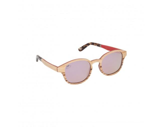 Lunettes de soleil mixtes en bois de chêne et zébrano verres teintés rose polarisés