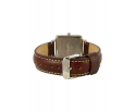 Montre femme en bois de noyer et acier inoxydable argent avec son bracelet cuir