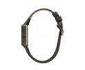 Montre femme en bois d'ébène et acier inoxydable noir avec son bracelet cuir
