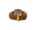 Montre femme en bois de zébrano et acier inoxydable or avec son bracelet cuir