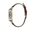 Montre en bois homme en noyer et acier inoxydable argent avec son bracelet en cuir