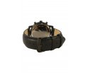 Montre en bois homme en ébène et acier inoxydable noir avec son bracelet en cuir