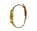 Montre en bois homme en zébrano et acier inoxydable or avec son bracelet en cuir