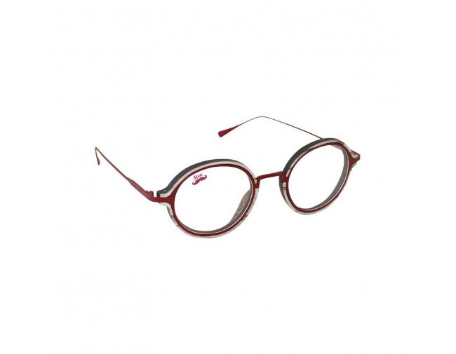 Lunettes optique en bois et titane rouge modèle Sagarra de la Eden collection