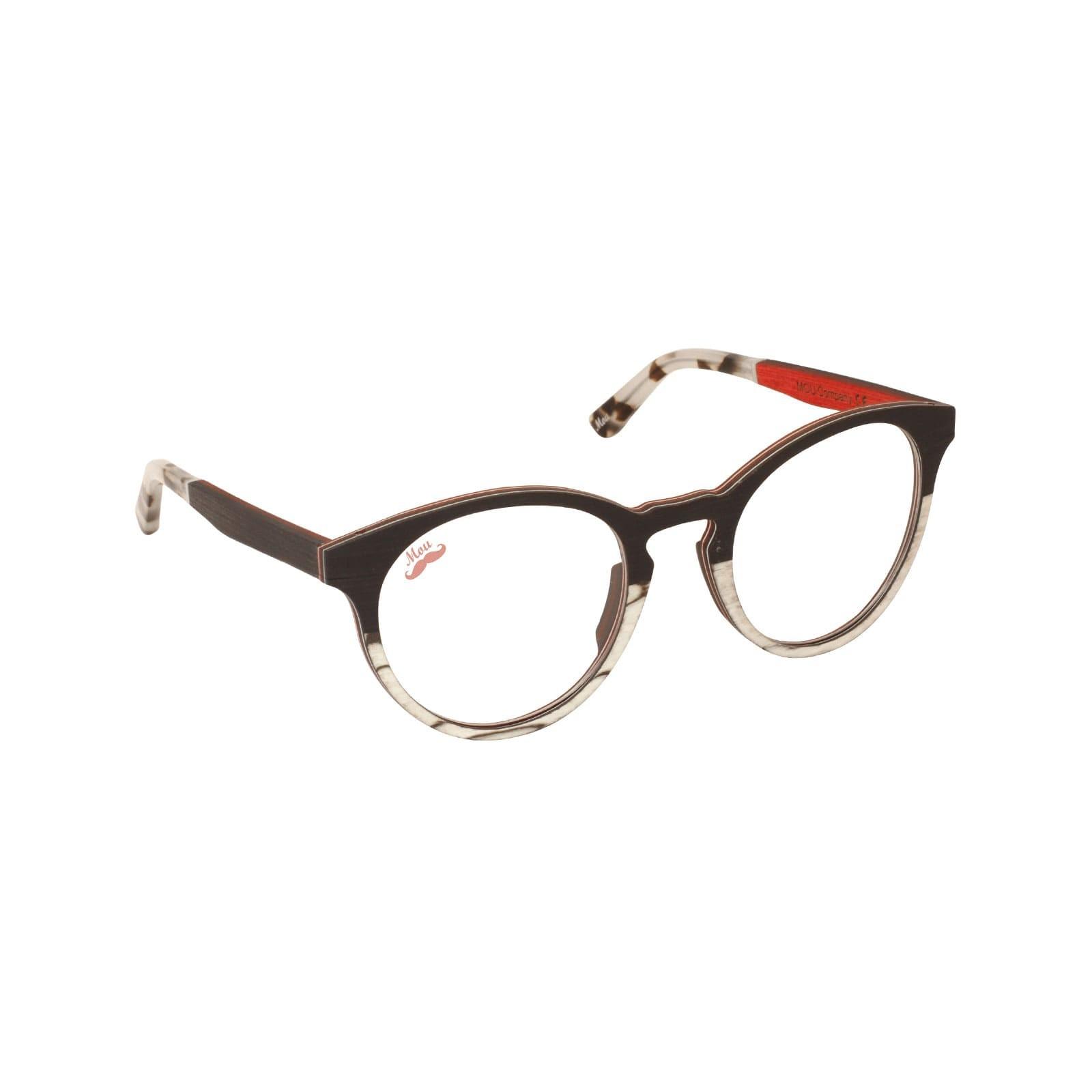 Lunettes de vue en bois d'ébene et zébrano blanc - Red Collection BASTA
