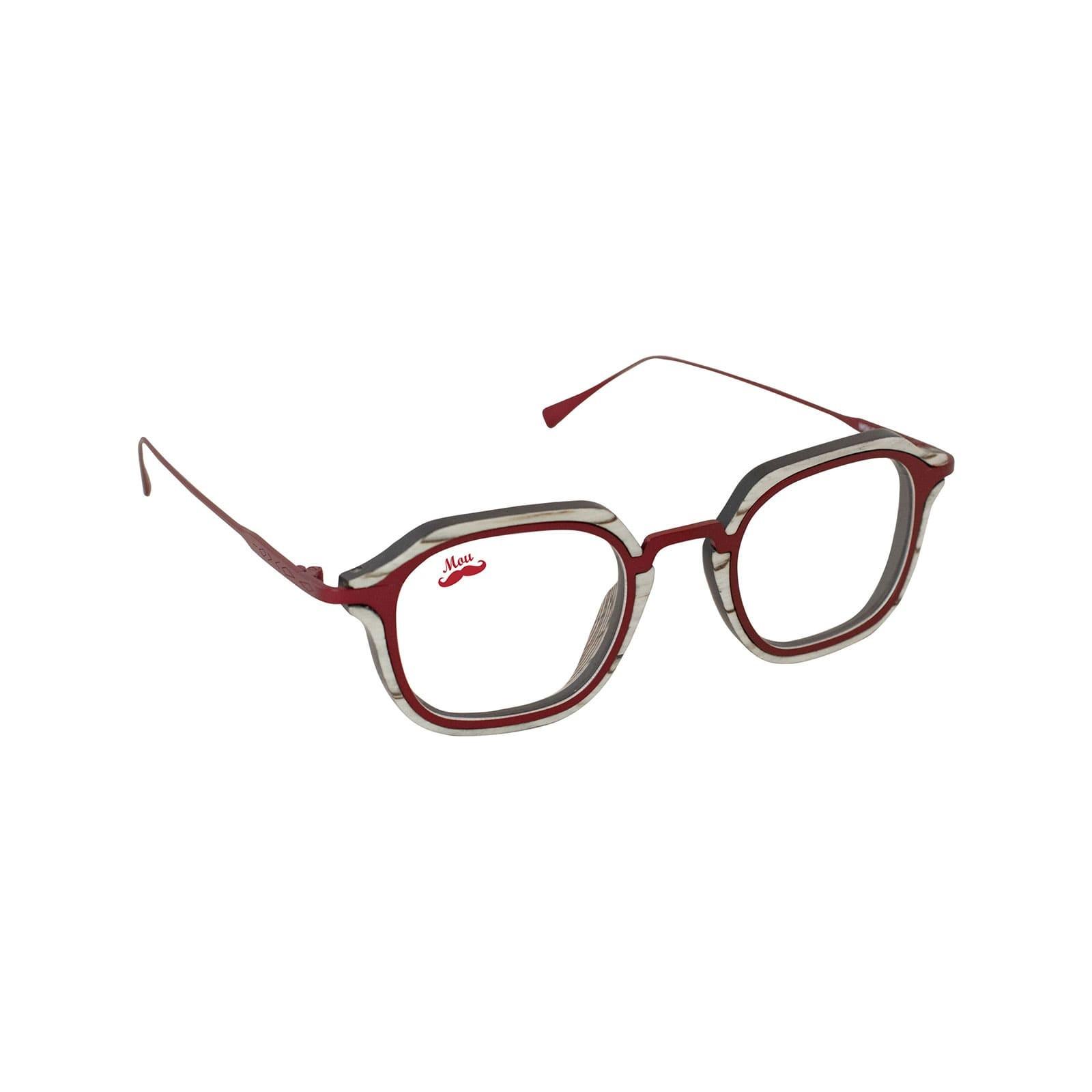 Lunettes en bois et titane rouge - modèle optique Zerua EDEN COLLECTION